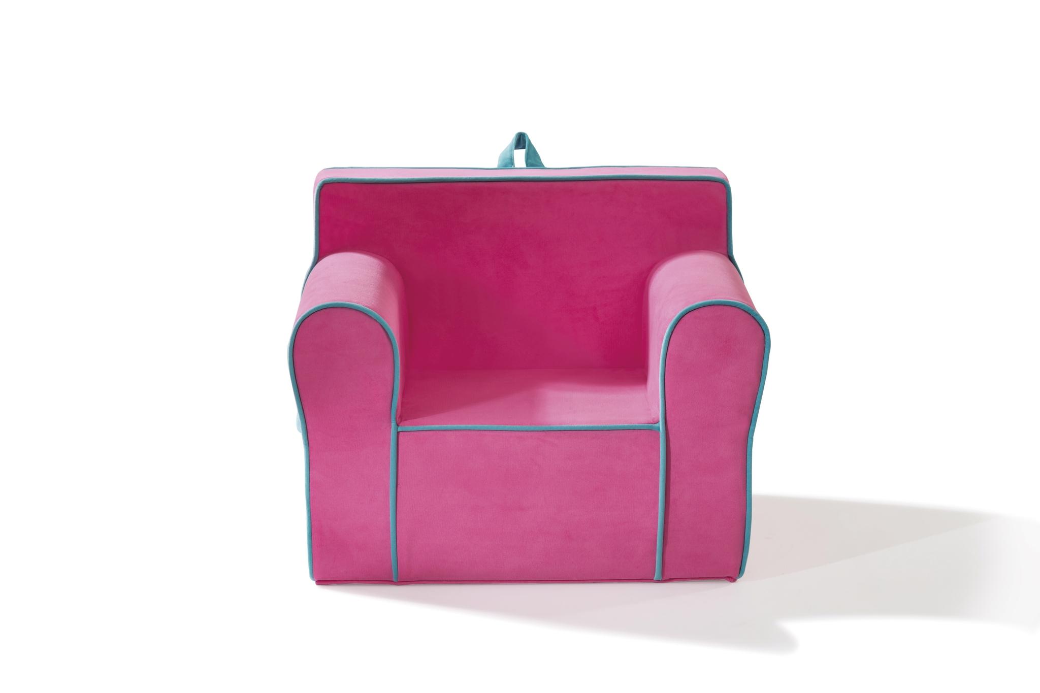 Fotoliu pentru copii tapitat cu stofa Comfort Pink, l61xA49xH52 cm imagine