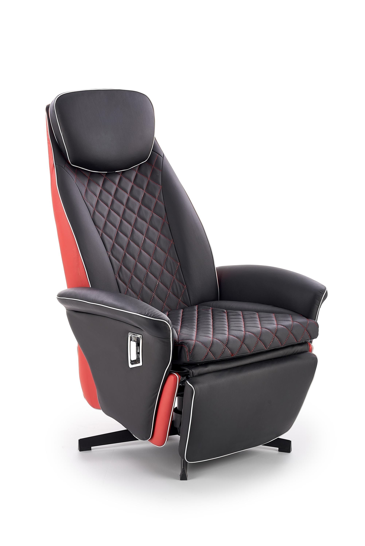 Fotoliu Recliner tapitat cu piele ecologica Camaro Black / Red, l77xA72xH112 cm somproduct.ro