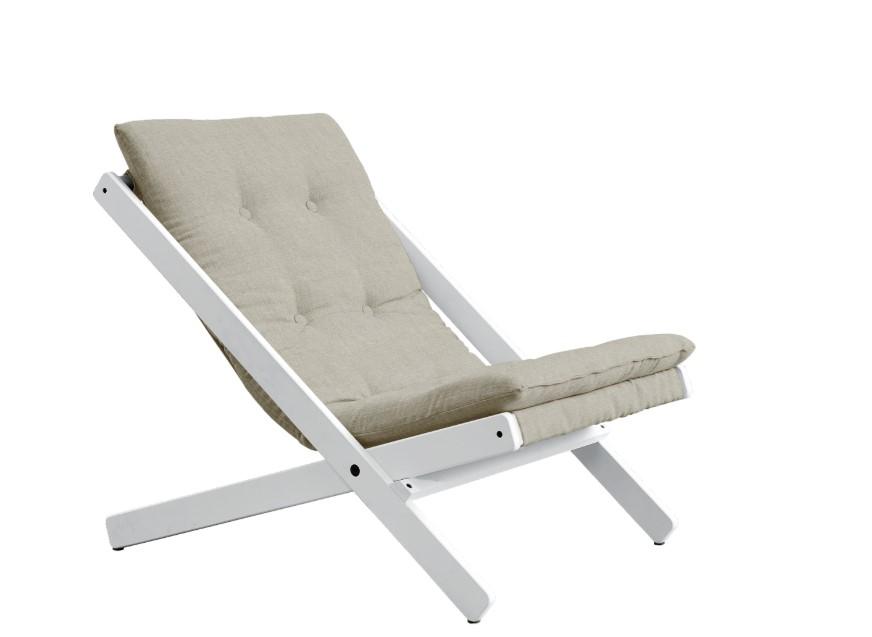 Fotoliu Relaxare stofa si cadru lemn de fag Boogie White Linen l65xA88xH67 cm