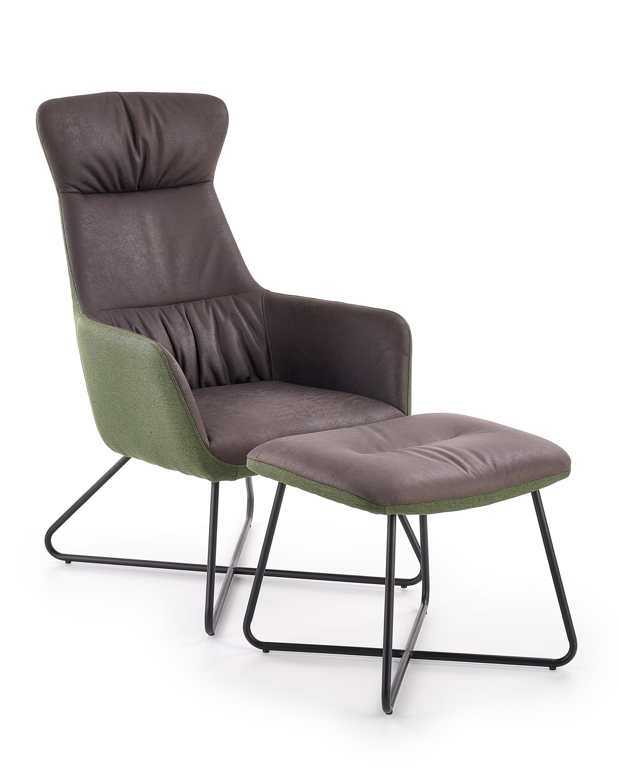 Fotoliu Relaxare tapitat cu piele ecologica si stofa + Taburet Tinto Dark Grey / Dark Green l65xA83xH107 cm