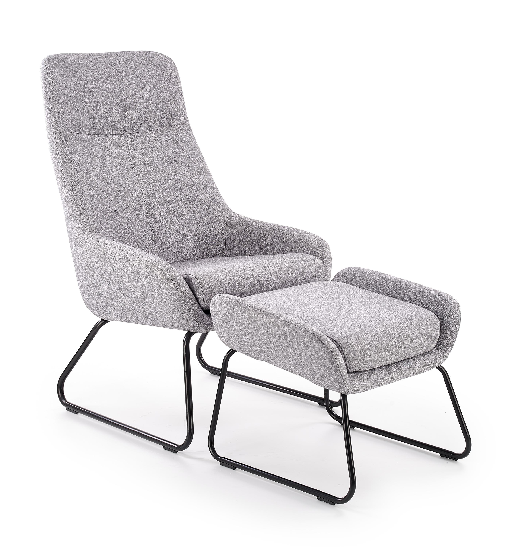 Fotoliu Relaxare tapitat cu stofa + Taburet Bolero Light Grey, l63xA77xH105 cm