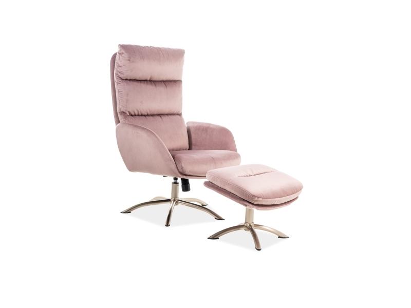 Fotoliu Relaxare tapitat cu stofa + Taburet Monroe Velvet Roz, l68xA73xH110 cm