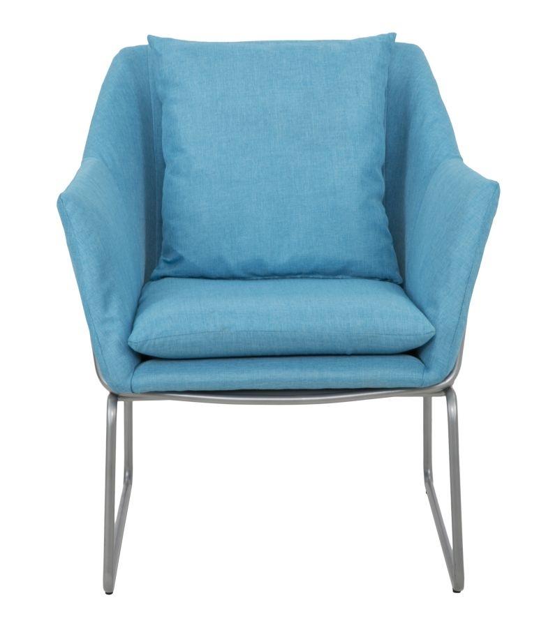 Fotoliu tapitat cu stofa cu picioare din metal Confort Light Blue l675xA73xH80 cm