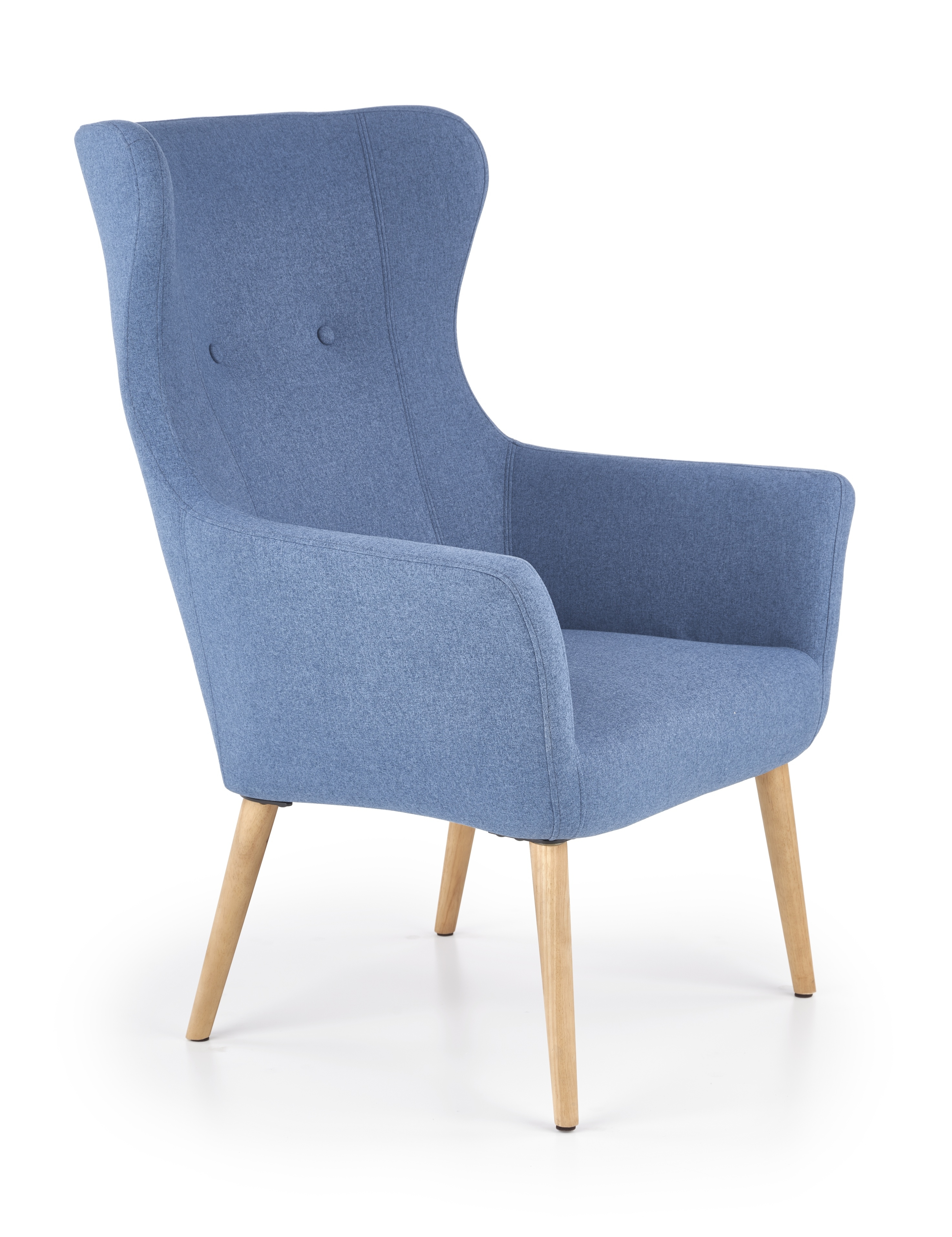 Fotoliu tapitat cu stofa, cu picioare din lemn Cotto Blue, l73xA76xH99 cm