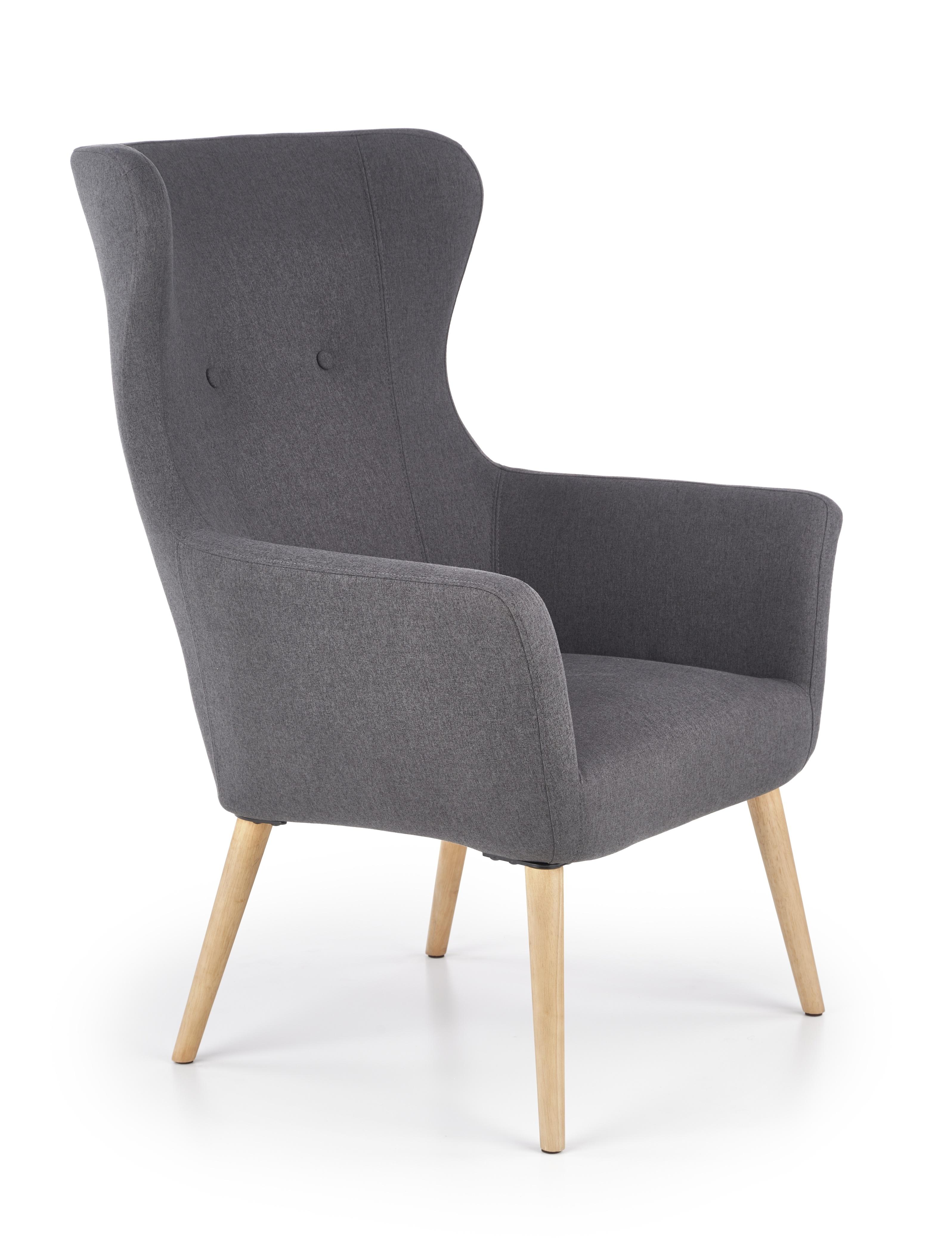 Fotoliu tapitat cu stofa, cu picioare din lemn Cotto Dark Grey, l73xA76xH99 cm