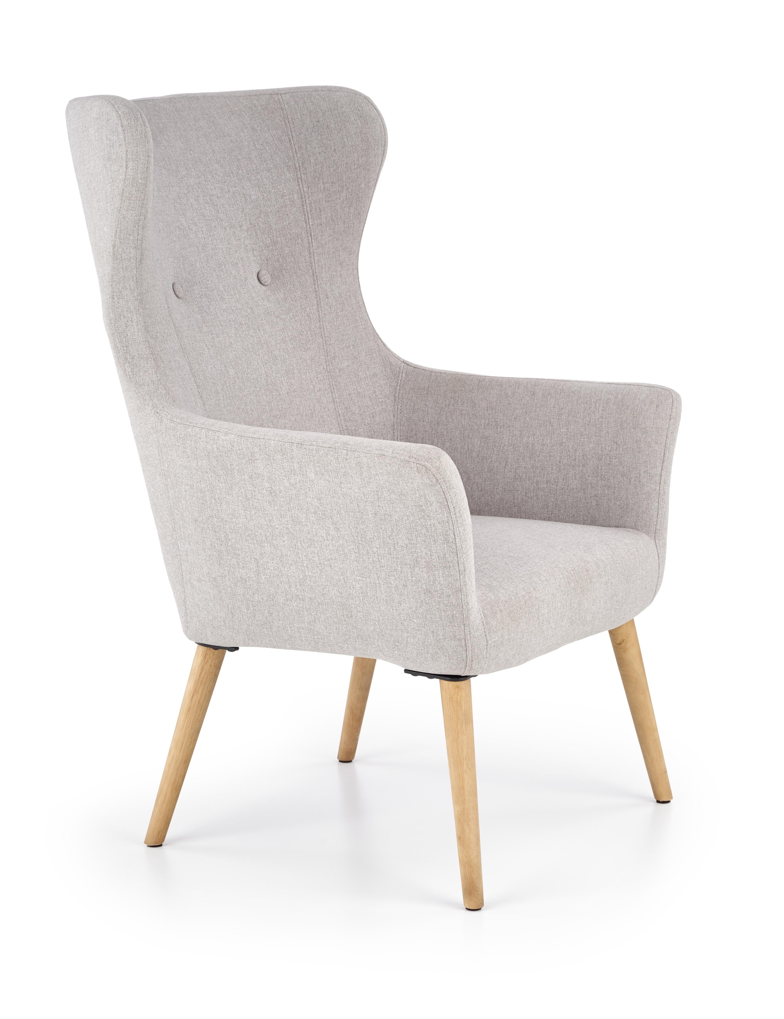 Fotoliu tapitat cu stofa, cu picioare din lemn Cotto Light Grey, l73xA76xH99 cm somproduct.ro