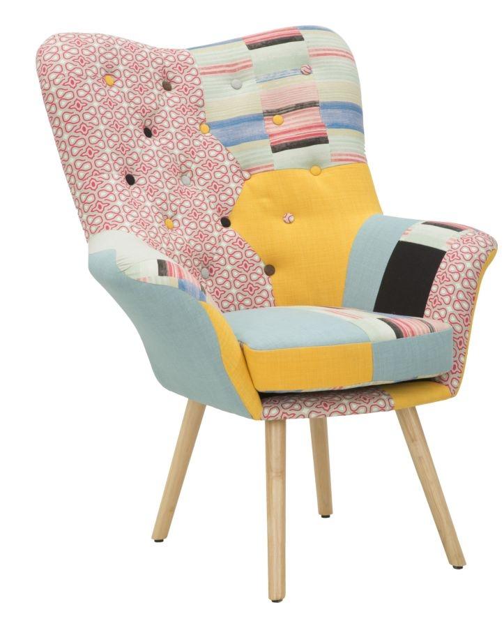 Fotoliu fix tapitat cu stofa, cu picioare din lemn Birmingham New Patchwork Multicolor, l86xA85xH104 cm din categoria Fotolii Fixe