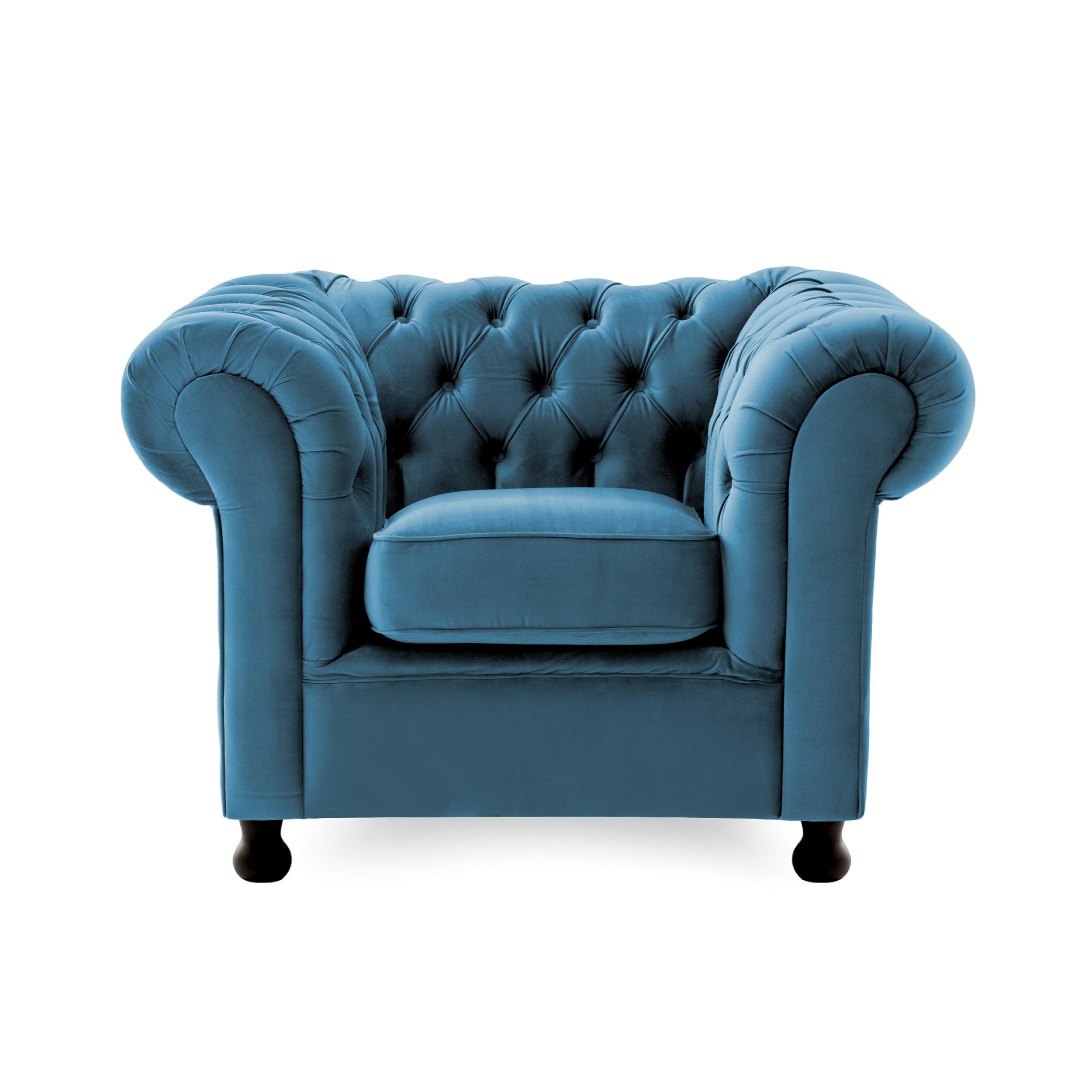 Fotoliu tapitat cu stofa, Chesterfield Albastru, l116xA88xH73 cm