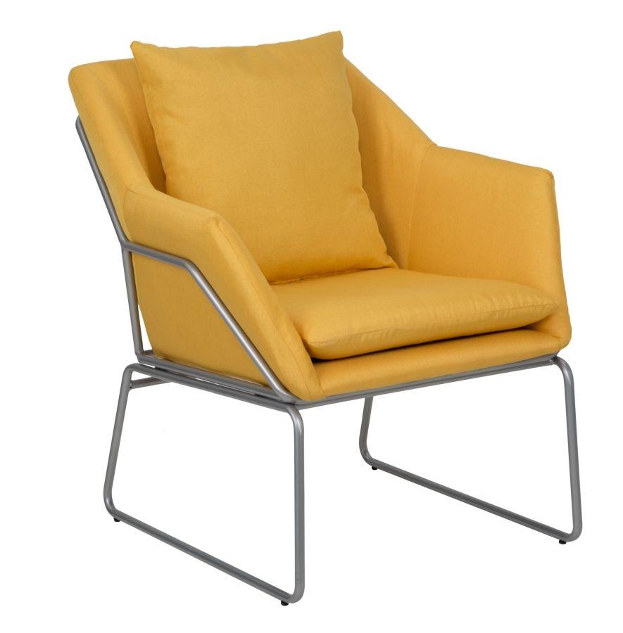Fotoliu tapitat cu stofa cu picioare din metal Confort Mustard l675xA73xH80 cm