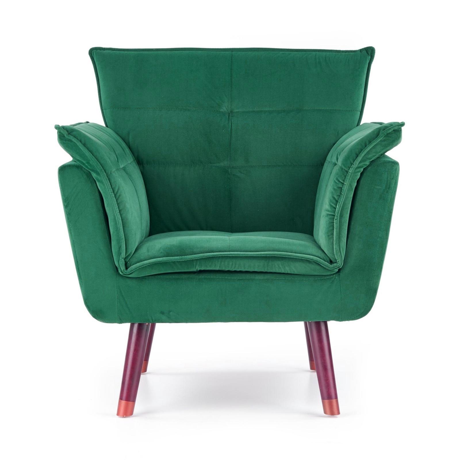 Fotoliu tapitat cu stofa, cu picioare din lemn Rezzo Dark Green, l80xA73xH84 cm poza