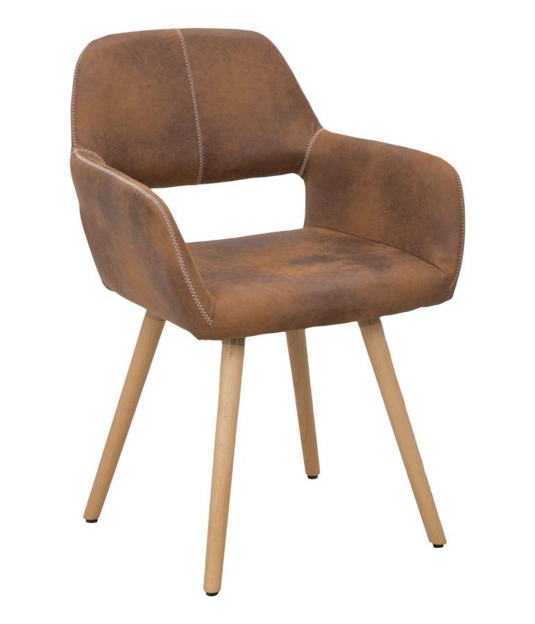Scaun tapitat cu piele ecologica, cu picioare din lemn Metropolitan Maro, l56xA56xH82 cm