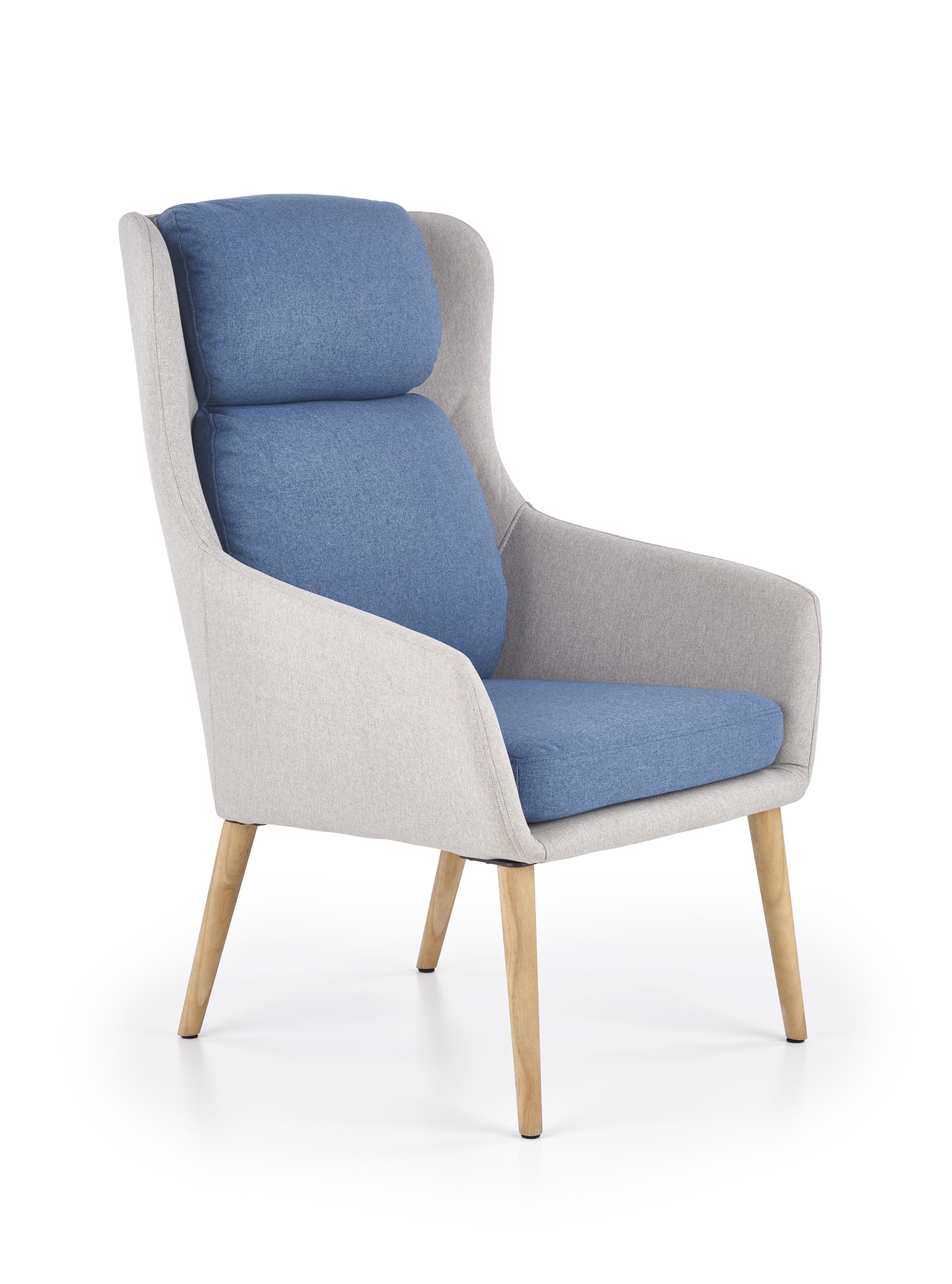 Fotoliu tapitat cu stofa, cu picioare din lemn Purio Light Grey / Blue, l67xA75xH103 cm imagine