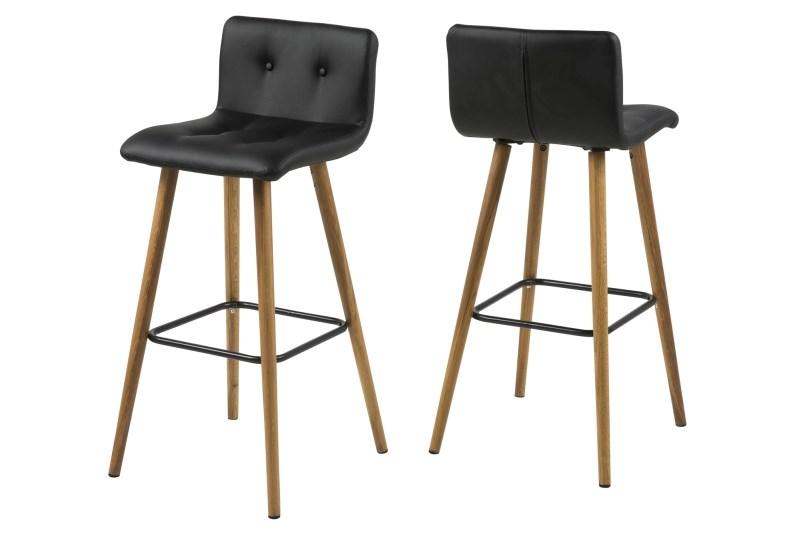 poze cu Set 2 scaune de bar tapitate Frida Black