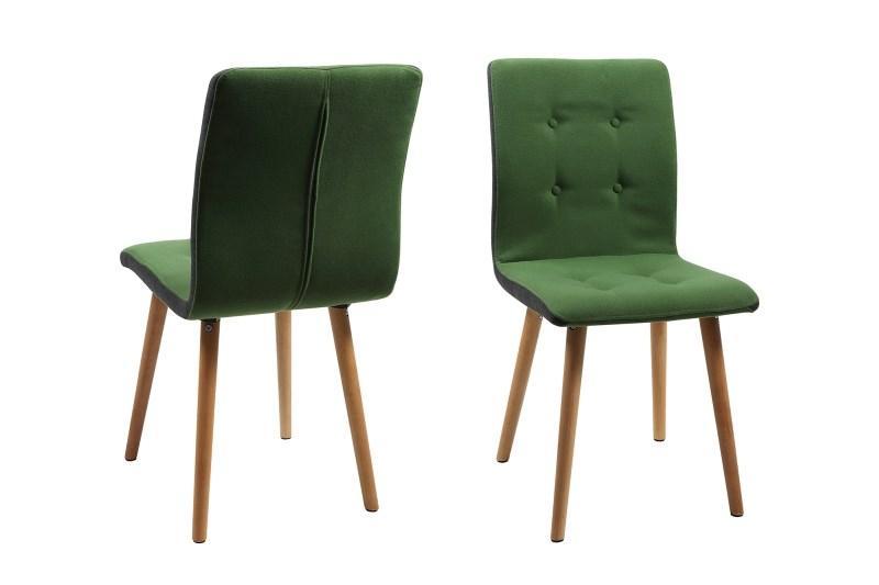 Set 2 scaune din lemn tapitate Frida Green