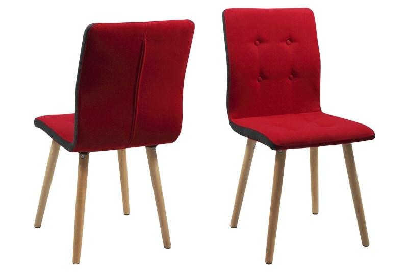 poze cu Set 2 scaune din lemn tapitate Frida Red