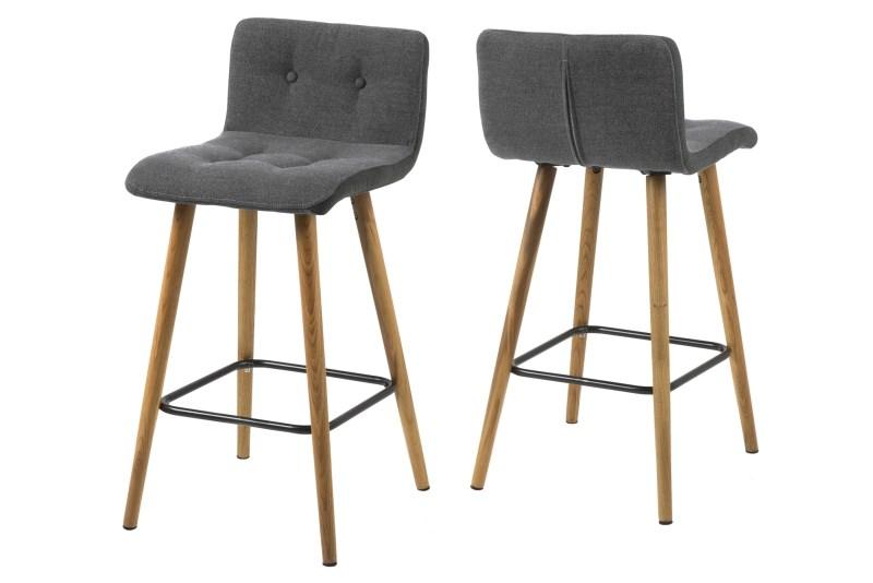 Set 2 scaune de bar tapitate Frida Light Grey
