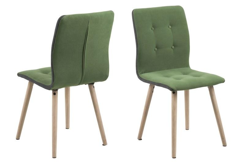 Set 2 scaune din lemn tapitate Frida Light Green