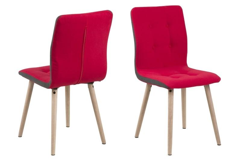 Set 2 scaune din lemn tapitate Frida Light Red