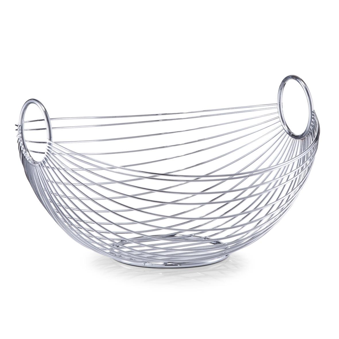 Fructiera Bowl, Metal Cromat, l28xA25,5xH16 cm poza