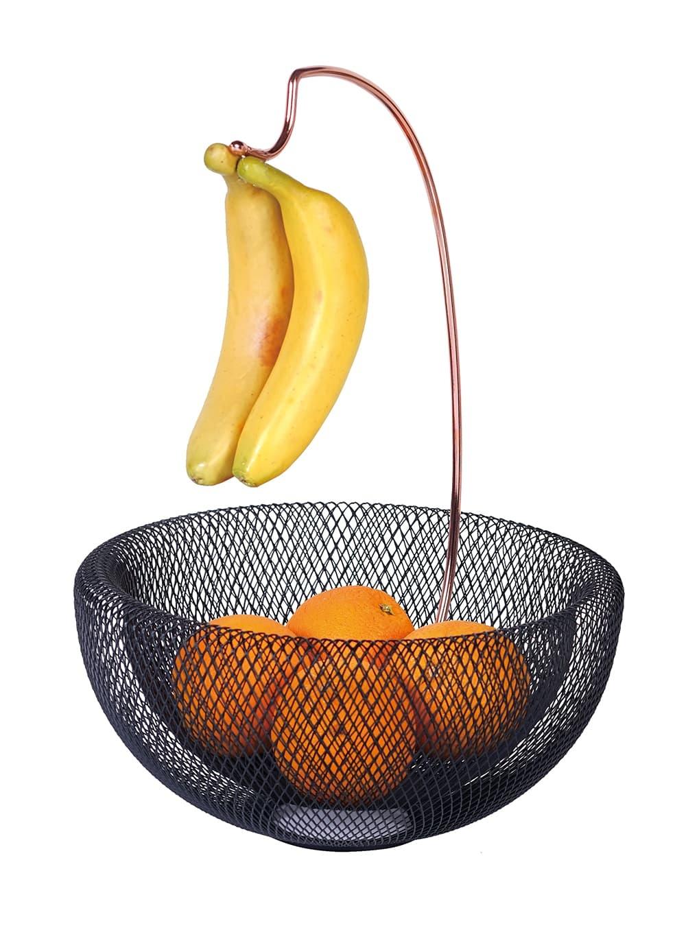 Fructiera cu suport pentru banane, din metal, Ø29,5xH42 cm, Black Rose