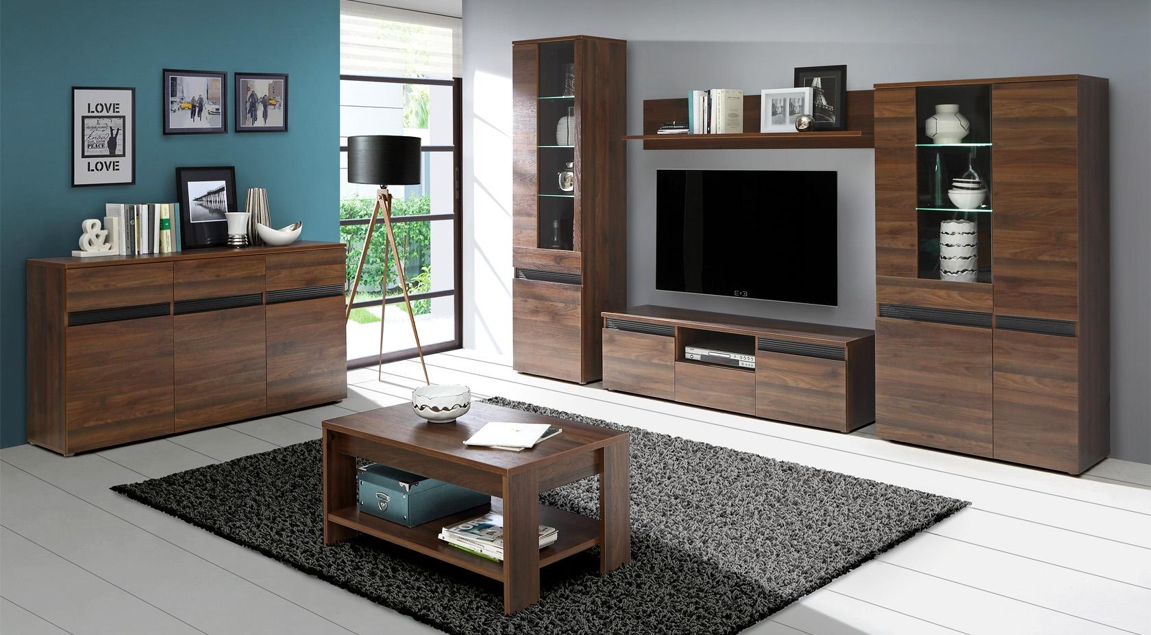 Set de mobila living din MDF 6 piese Fuler Walnut