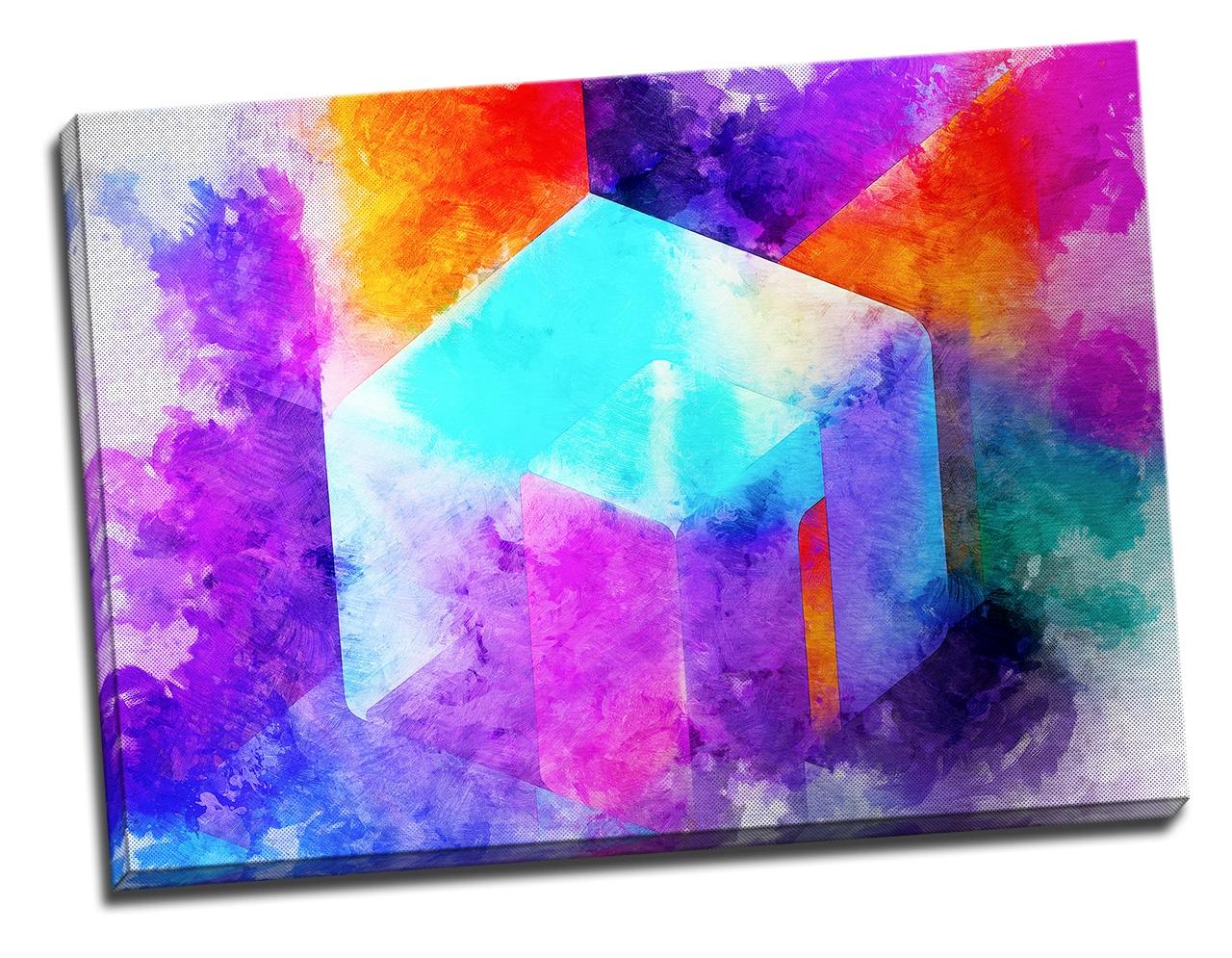 Tablou din aluminiu striat Geometrical Rainbow