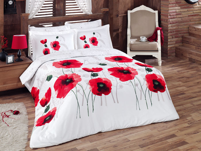 Lenjerie de pat Satin Poppy Flower V1 Red