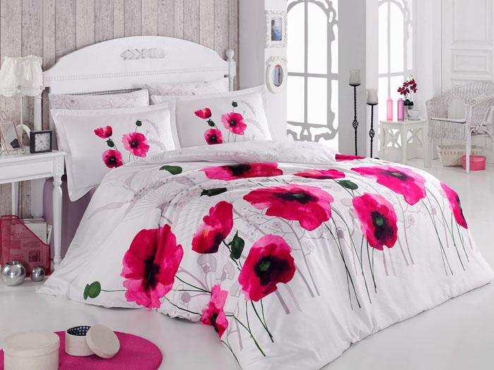 Lenjerie de pat Satin Poppy Flower V2 Pink title=Lenjerie de pat Satin Poppy Flower V2 Pink
