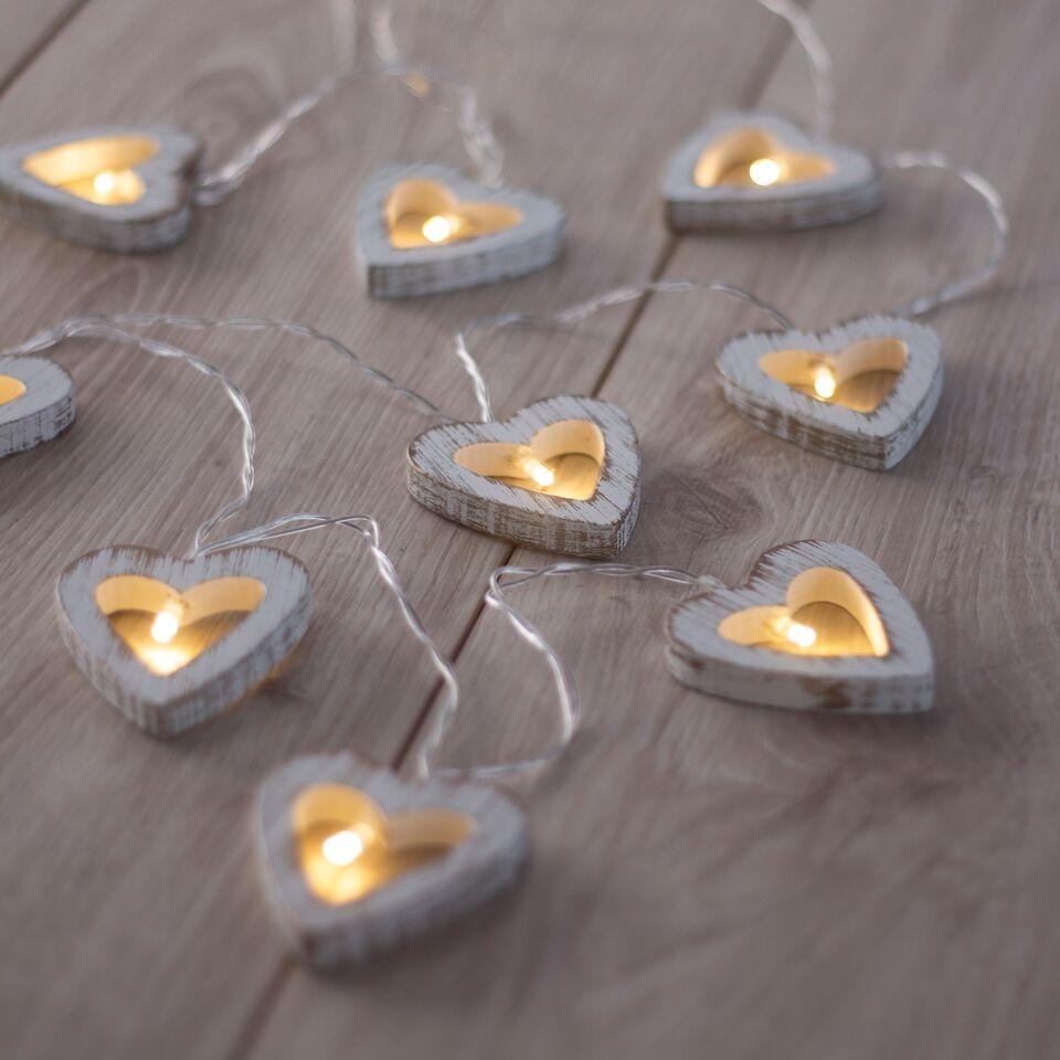 Ghirlanda luminoasa decorativa cu 10 de LED-uri Wooden Hear White / Gold L165 cm