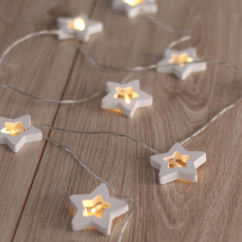 Ghirlanda luminoasa decorativa cu 10 de LED-uri Wooden Star White L165 cm