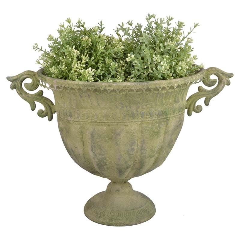 Ghiveci pentru exterior, din metal, Urn Oval L Verde Antichizat, L45xl27,9xH32 cm somproduct.ro