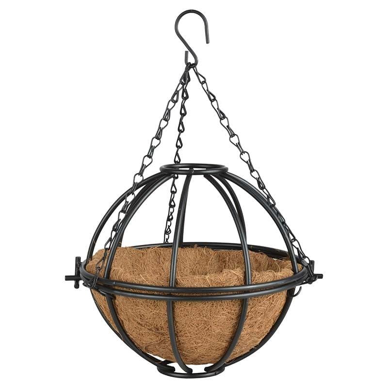 Ghiveci suspendabil din metal si fibre de cocos, Basket Round Negru, Ø25,3xH22,9 cm somproduct.ro