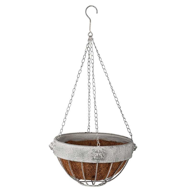Ghiveci suspendabil din metal si fibre de cocos, Lion Gri, Ø26,2xH16 cm somproduct.ro