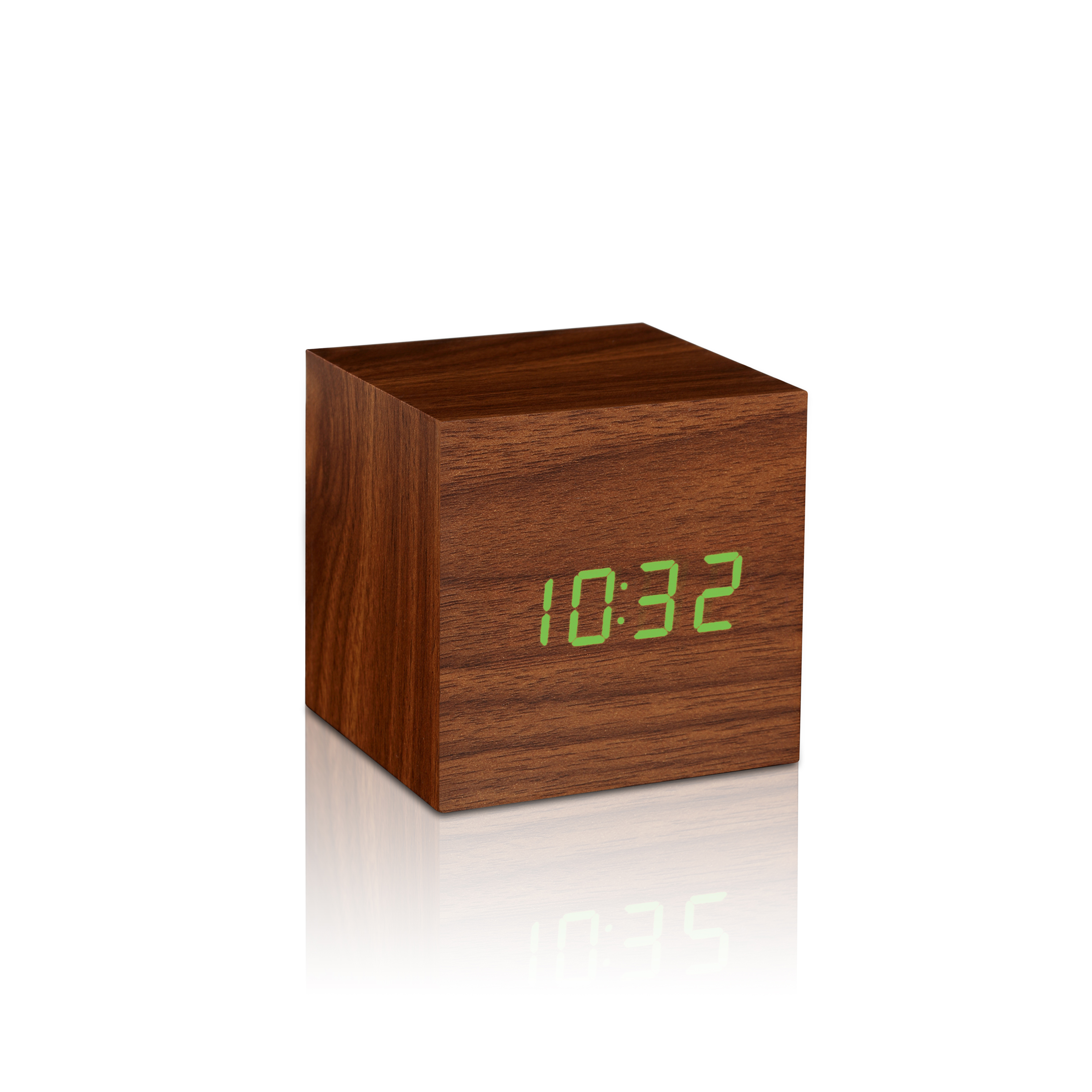 Ceas inteligent Cube Click Clock Walnut/Green