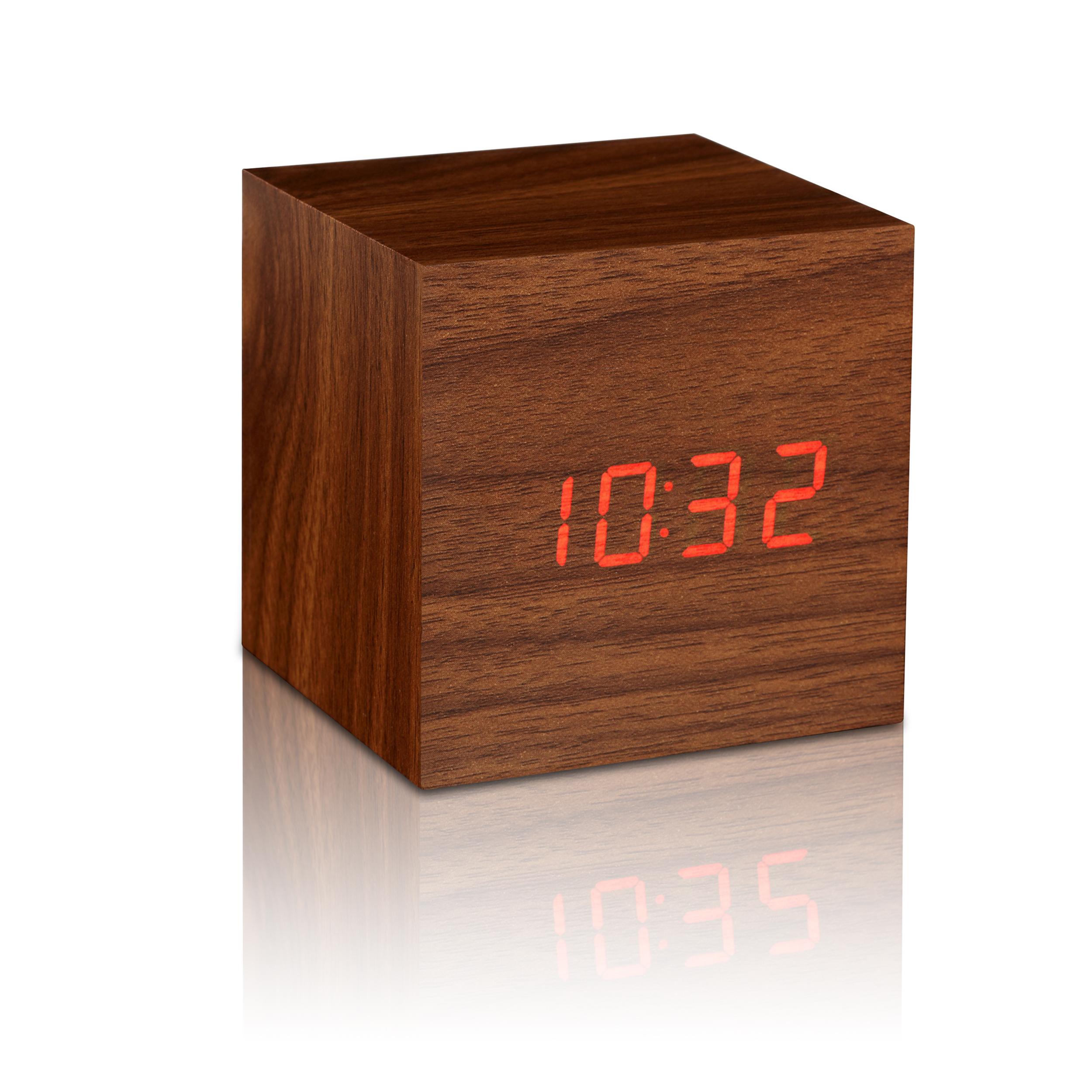 Ceas inteligent Cube Click Clock Walnut/Red