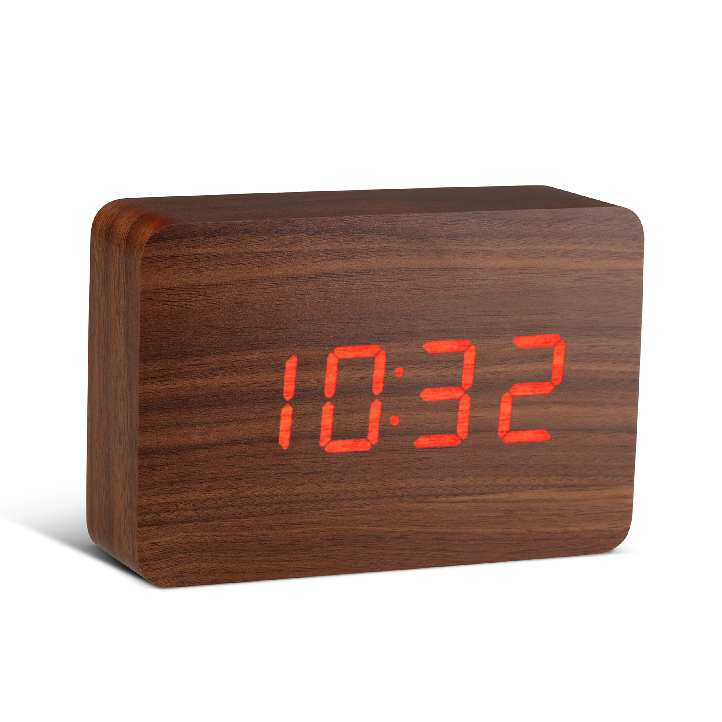 Ceas cu functie de intensitate redusa Brick Click Clock Walnut/Red