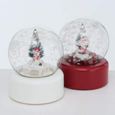Glob decorativ de Craciun cu LED, din plastic Rondo Alb / Rosu, Modele Asortate, Ø10xH13 cm
