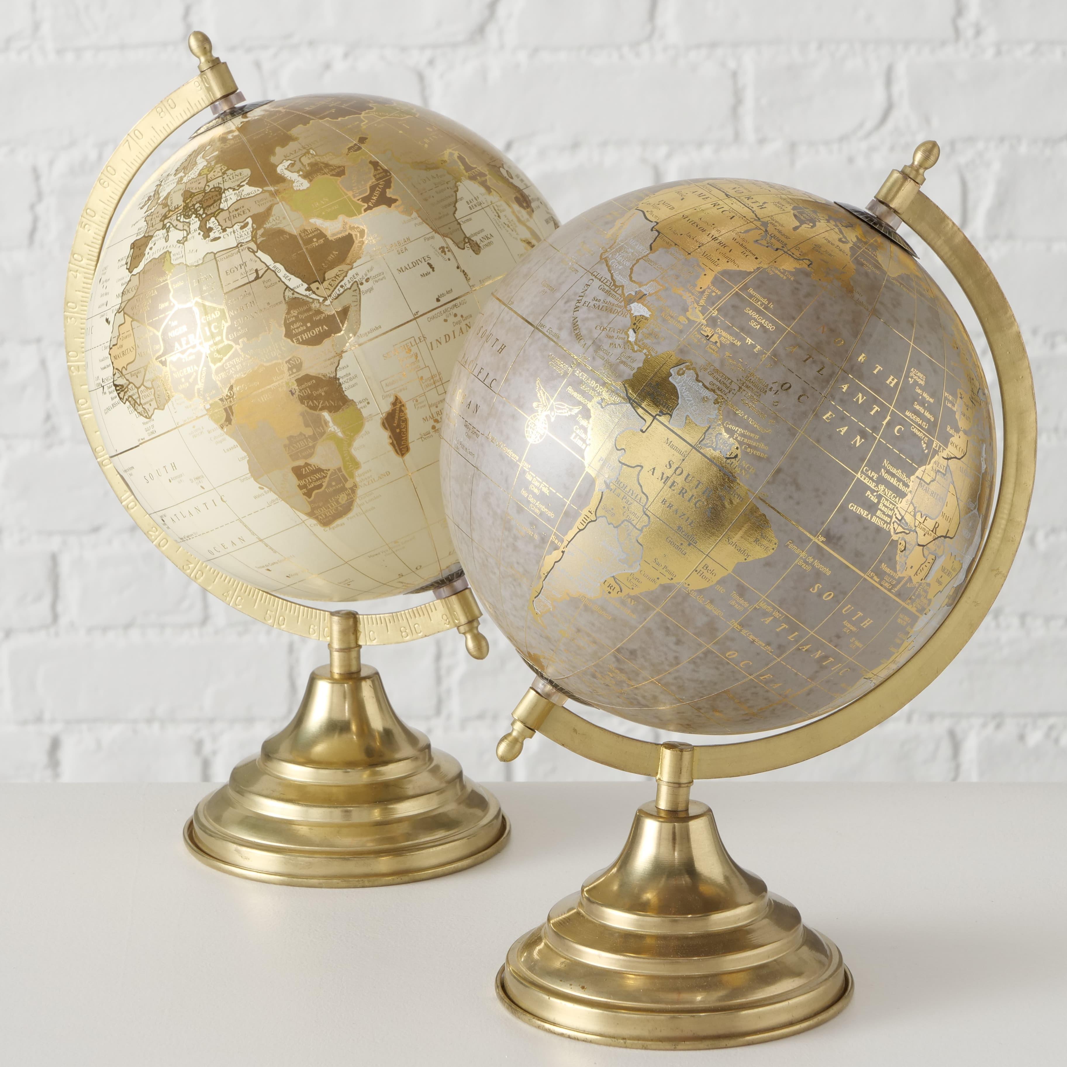 Glob pamantesc din polirasina si metal Globy Auriu / Gri, Modele Asortate, Ø22xH34 cm