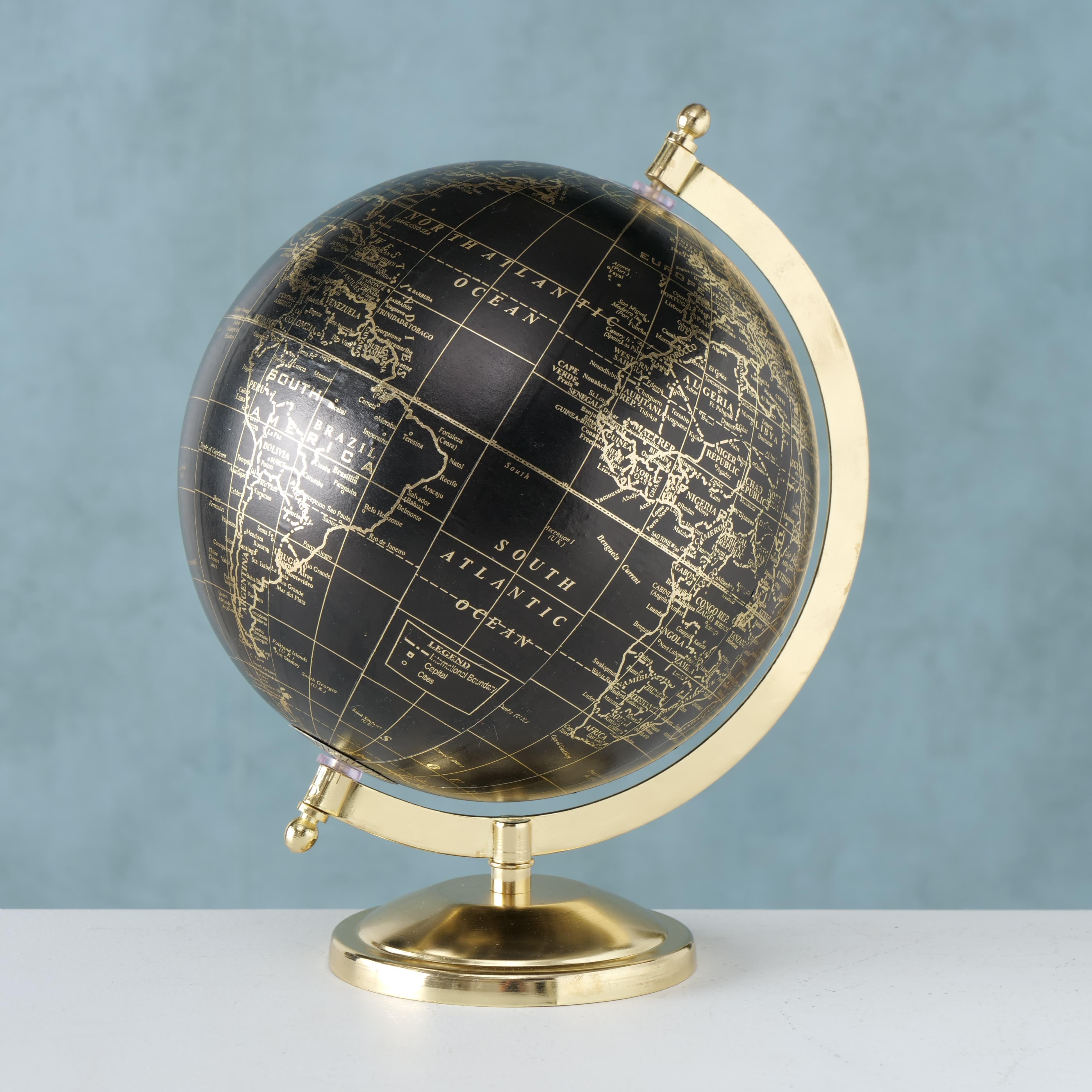 Glob pamantesc din polirasina si metal Globy Auriu / Negru, Ø22xH27,5 cm