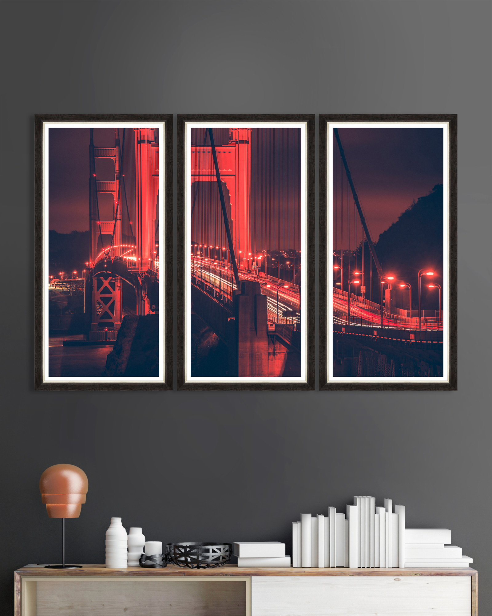 Tablou 3 piese Framed Art Golden Gate Lights Triptych imagine