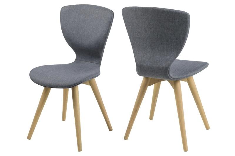 Set 2 scaune din lemn tapitate Gongli Grey/Oak