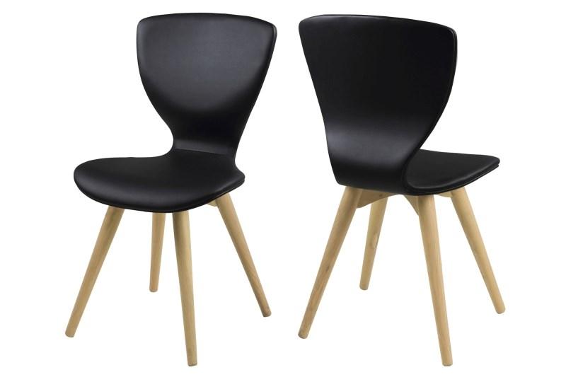 Set 2 scaune din lemn tapitate Gongli Black/Oak