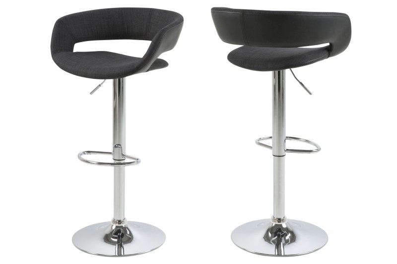 Set 2 Scaune De Bar Grace Anthracite/black