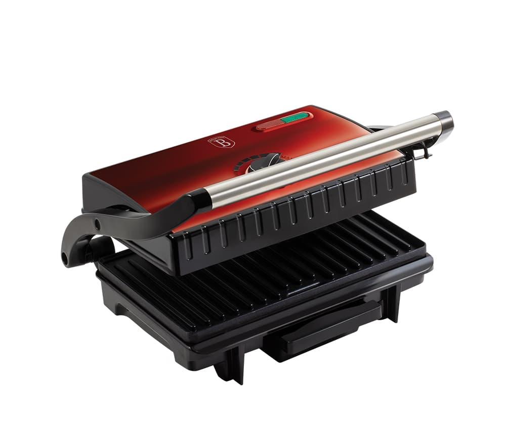 Grill electric cu placi antiaderente si termostat, 1500W, Metallic Line Burgundy