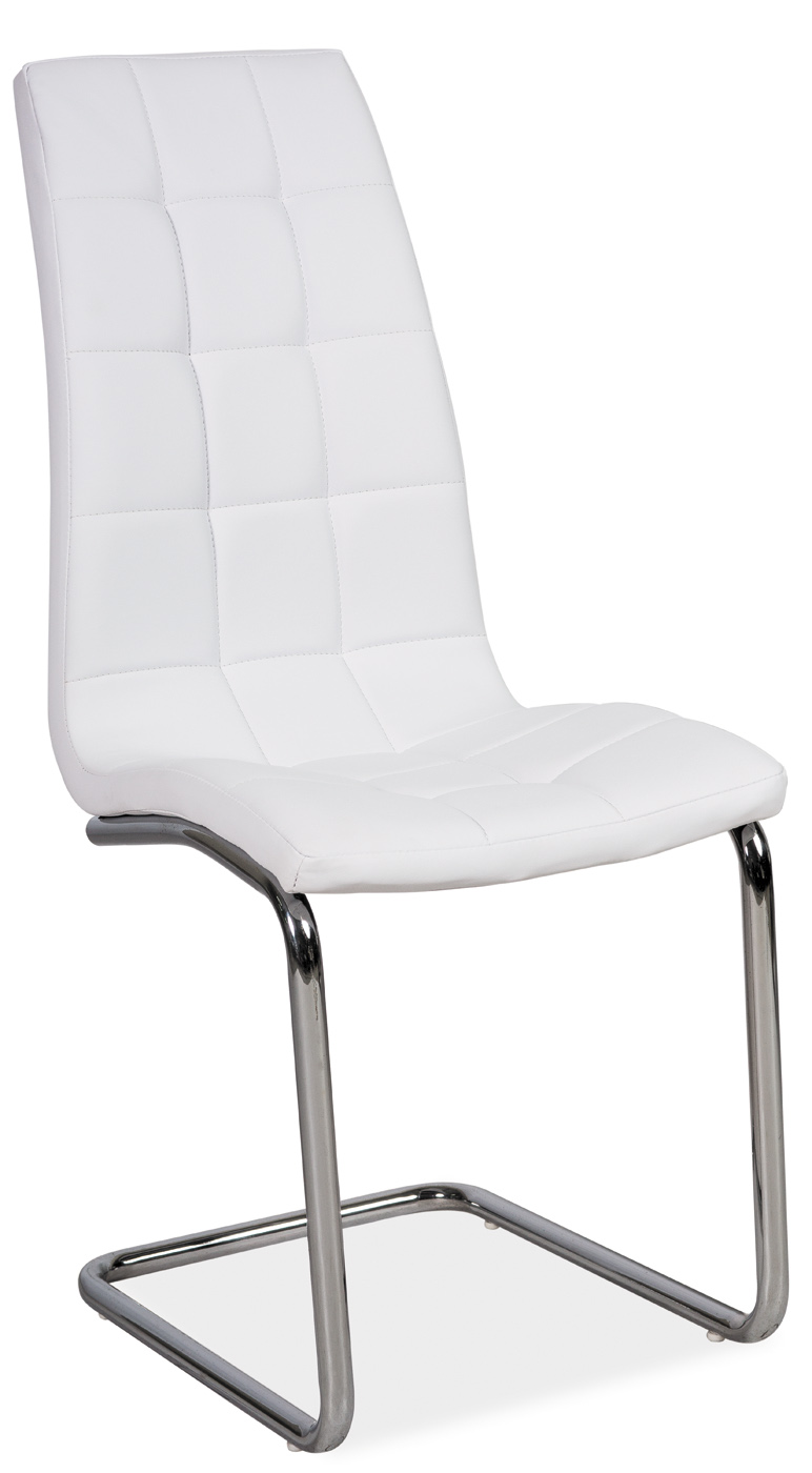 Scaun tapitat cu piele ecologica, cu picioare metalice H-103 White, l42xA43xH102 cm somproduct.ro