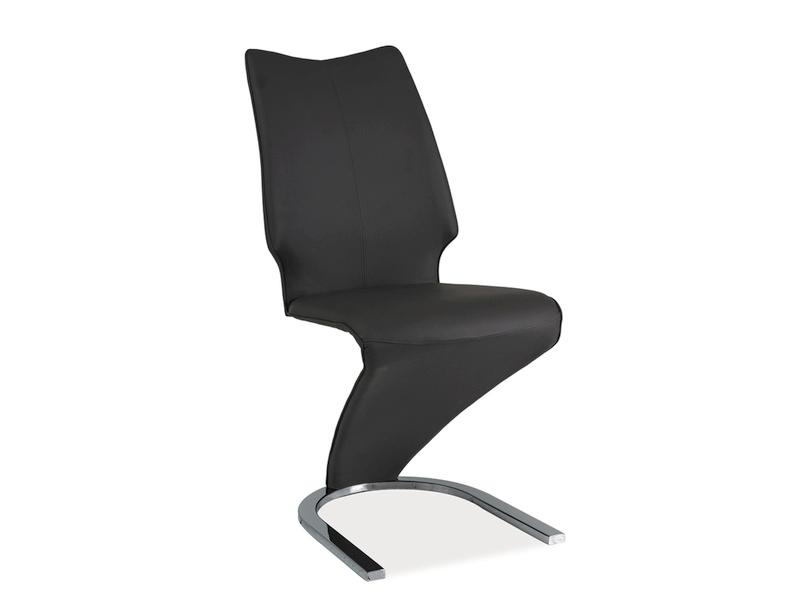 Scaun tapitat cu piele ecologica, cu picioare metalice H-050 Dark Grey, l46xA45xH99 cm imagine