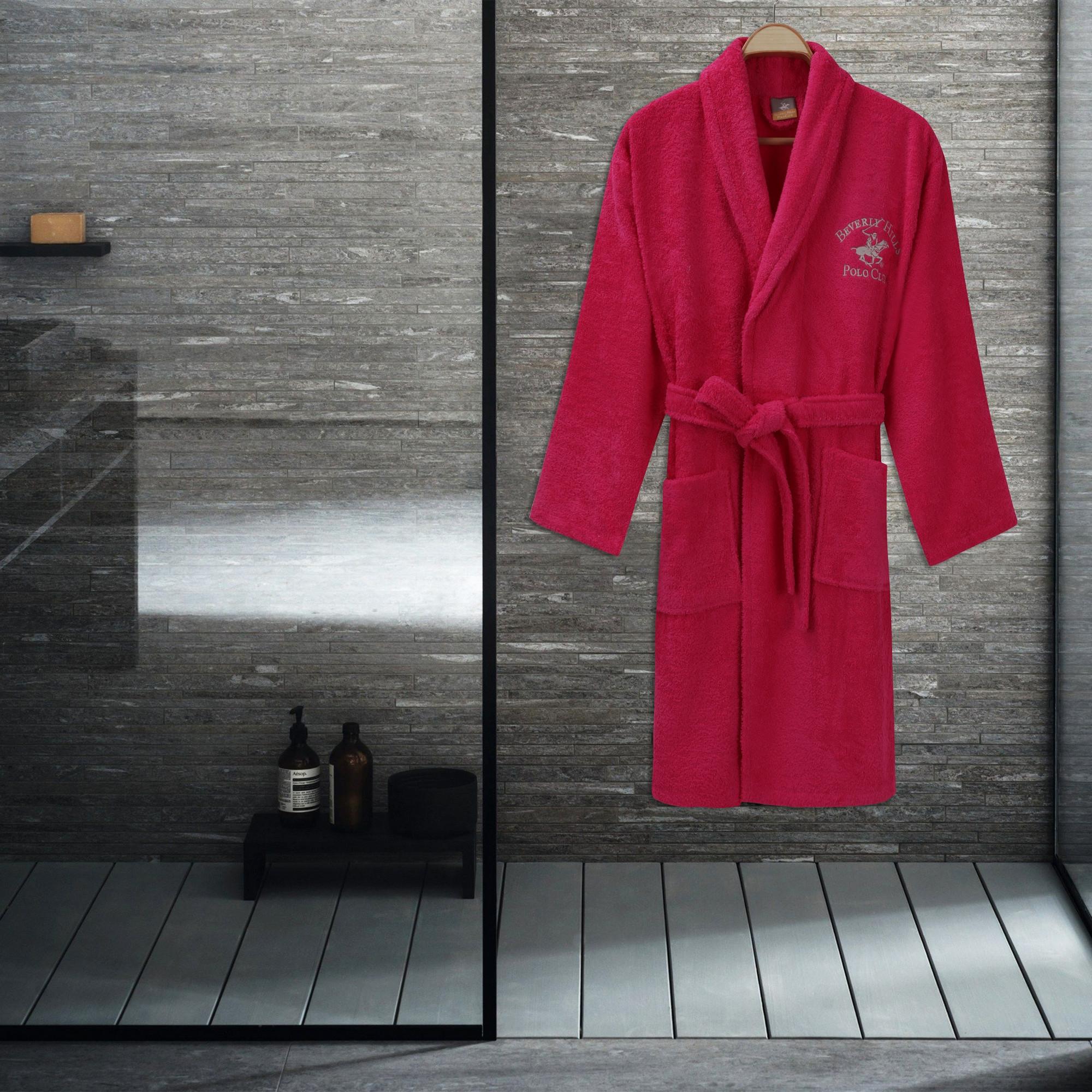 Halat de baie femei, din bumbac, Beverly Hills Polo Club 700 Roz, M / L