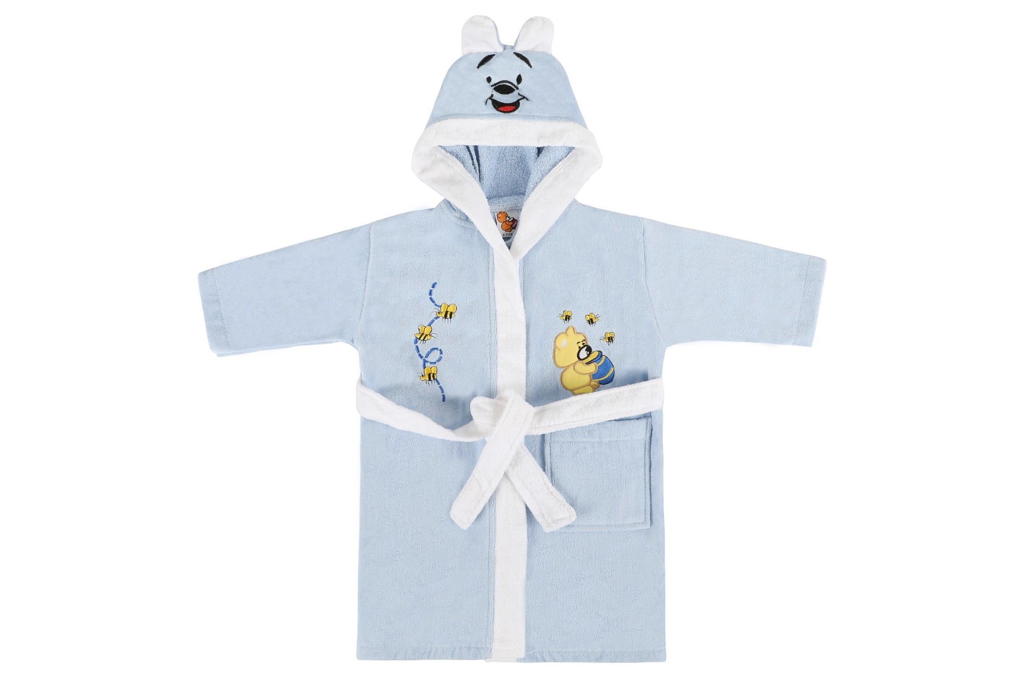 Halat de baie pentru copii, din bumbac, Bear Albastru, 6 / 7 ani imagine
