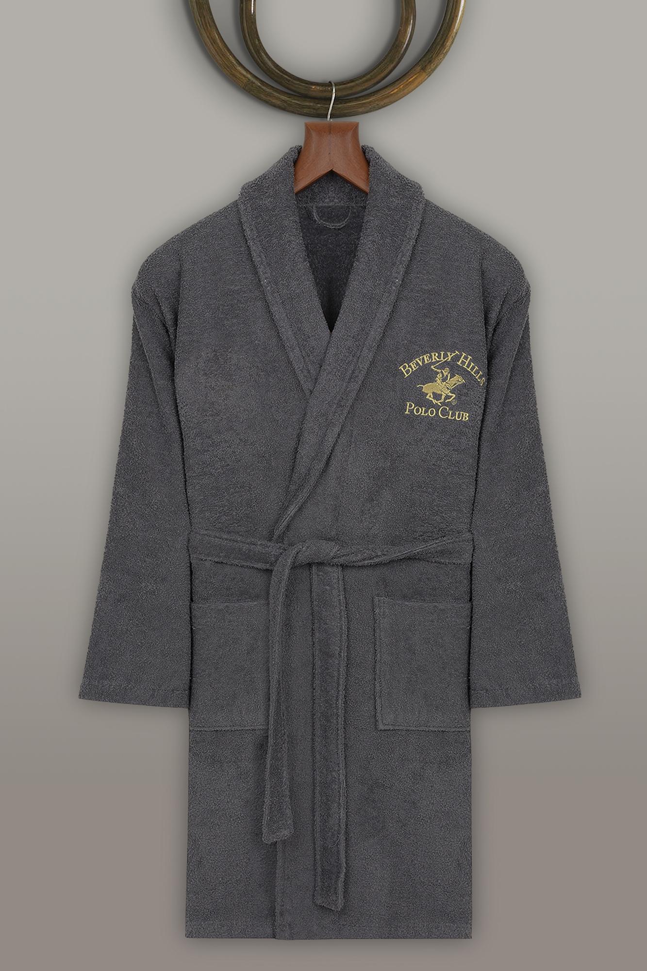 Halat de baie unisex, din bumbac, Beverly Hills Polo Club 700 Antracit, L / XL poza