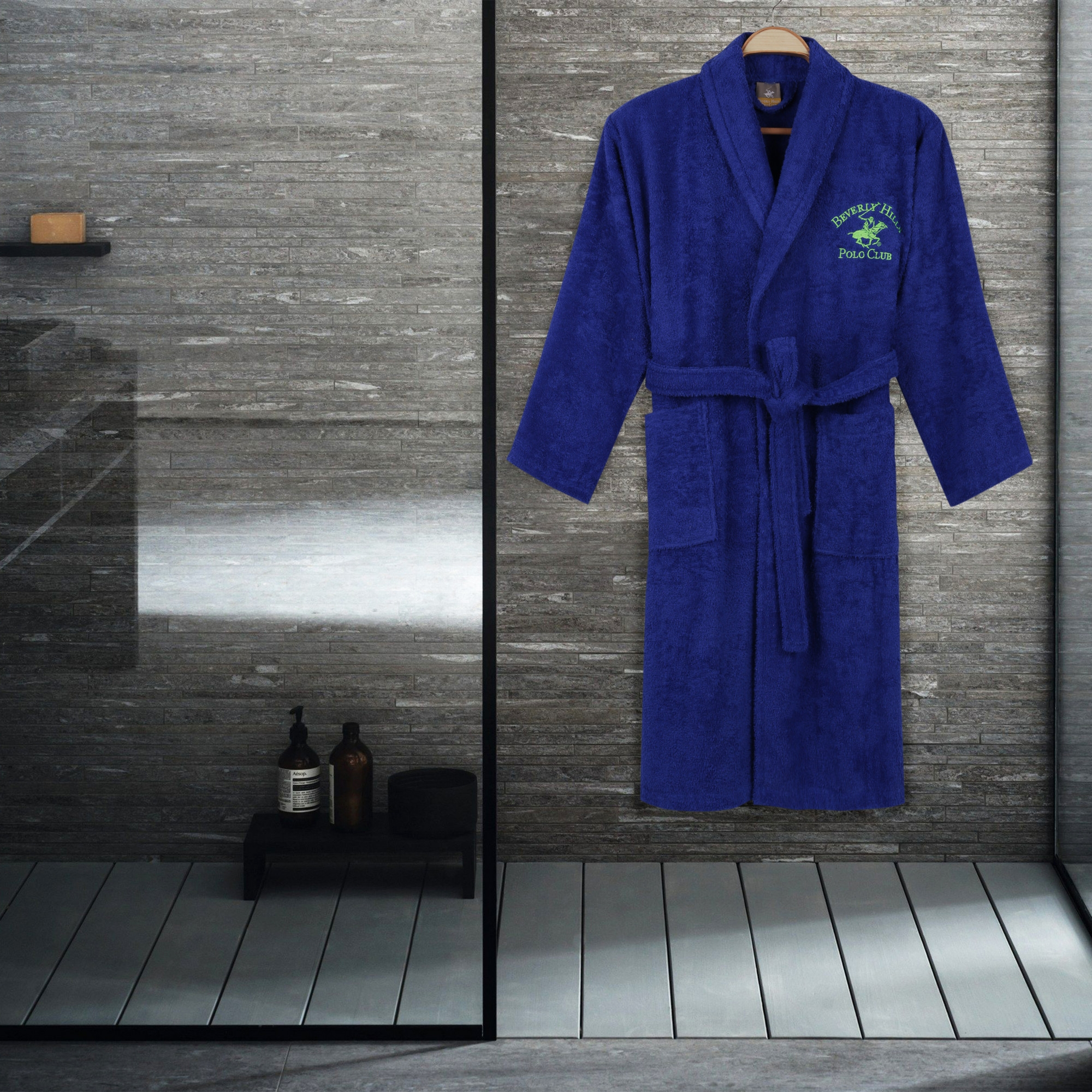 Halat de baie unisex, din bumbac, Beverly Hills Polo Club 700 Bleumarin, M / L